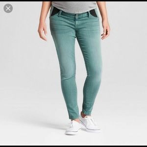 Isabel maternity Inset Panel Skinny Jeans green